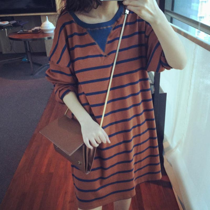 韓國東大門春秋裝 潮長袖連衣裙女寬鬆條紋中長款打底裙子長裙