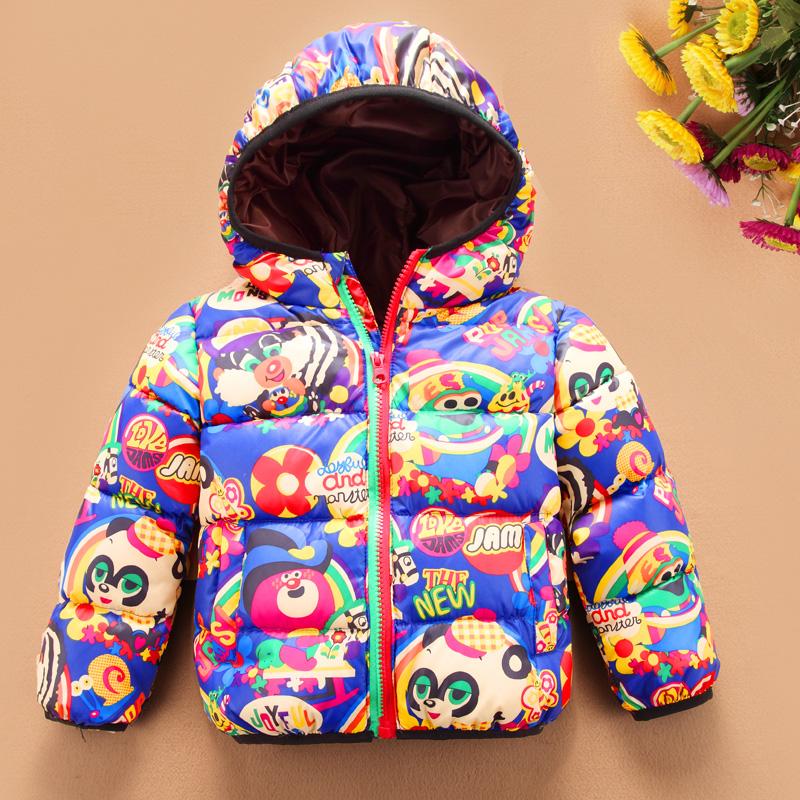 Распродажа новых зимняя одежда для детей, которую мягкий мультфильм с печатной пуховик обрезанное куртки мальчиков девочек Детская одежда