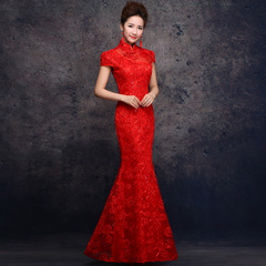 Purple Elf 2015 summer new style bridal wedding toast retro lace cheongsam suit modified tail of yarn long bi-fold wallet Red