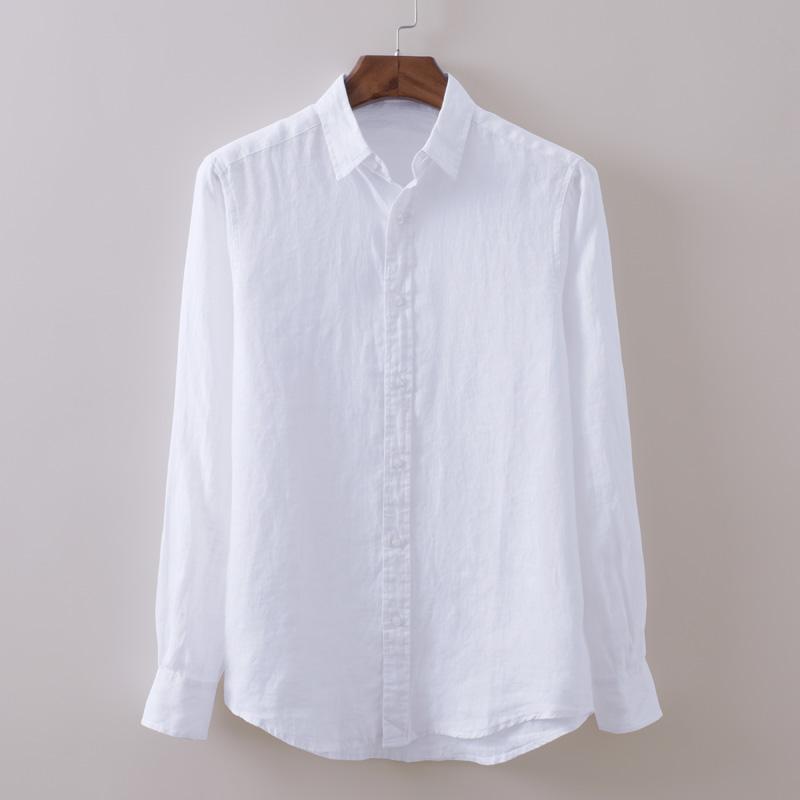 沙滩清新白色长袖纯亚麻衬衫男士休闲防晒舒适透气柔软棉麻衬衣男(非品牌)