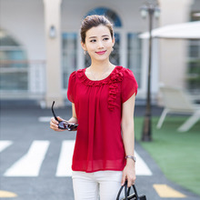 2015 new T-shirt women summer short-sleeved easing round collar pure color big yards han edition snow spins unlined upper garment of middle-aged women's clothing of t