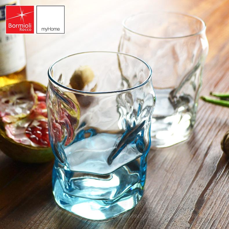 意大利 Bormioli玻璃水杯彩色 玻璃杯子冷熱飲藍色茶杯杯具