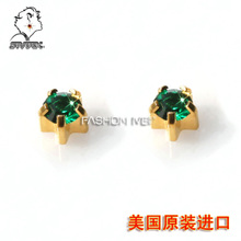 Allergy stud earrings Studex 24 k gold men's and women's 4 m emeralds Europe and the United States a superhero pin 200 million vice
