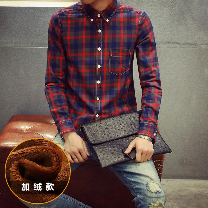 新款韩版男装格子加绒衬衫男士长袖修身衬衫206A-MCS06-P50