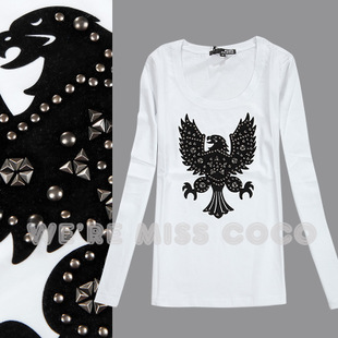 MISS COCO2014 new winter European and American fashion street style rivets Eagle flocking cultivating long sleeved T shirt women