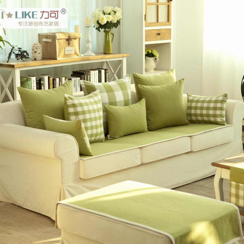 力可zakka色織沙發靠墊靠墊套抱枕套靠枕腰靠抱枕不含芯^#9草綠色