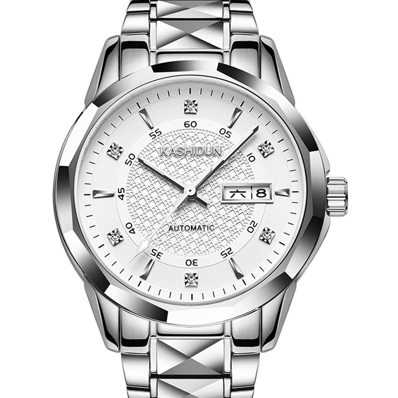 卡詩頓正品精鋼鎢鋼男士全自動機械表 夜光防水雙日曆男表手表