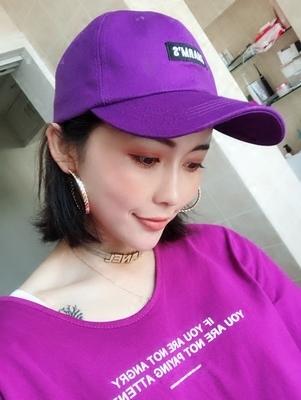 時尚字母刺繡紫色棒球帽子男女原宿百搭簡約軟頂鴨舌帽夏季遮陽帽
