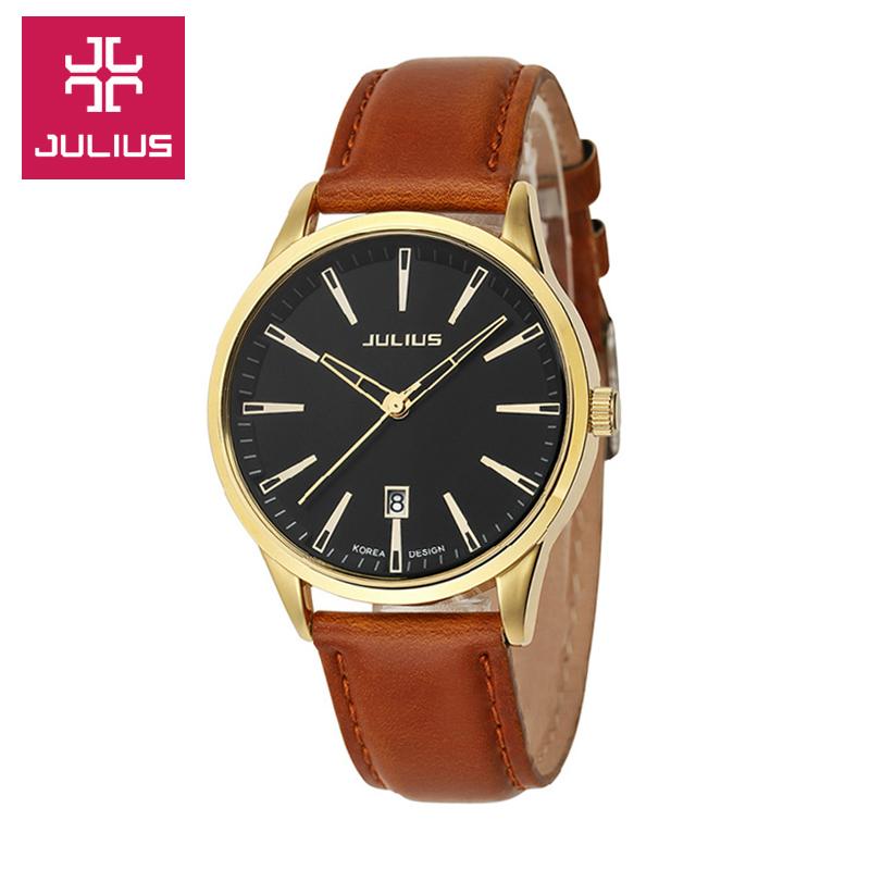 Когда Ju ли Корея Мужские часы водонепроницаемый кожаный ремешок часы Мужские категории Многофункциональные часы кварцевые часы мужчин