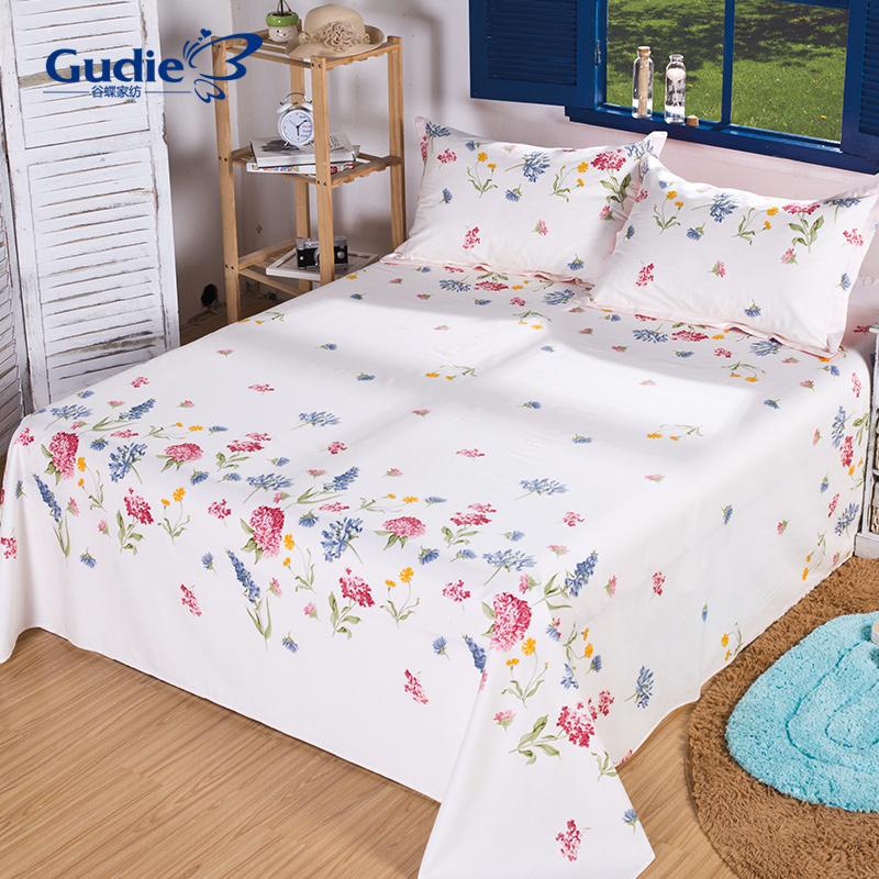 穀蝶卡通純棉床單單件全棉雙人被單1.5 1.8 2.0m米床單人學生加厚
