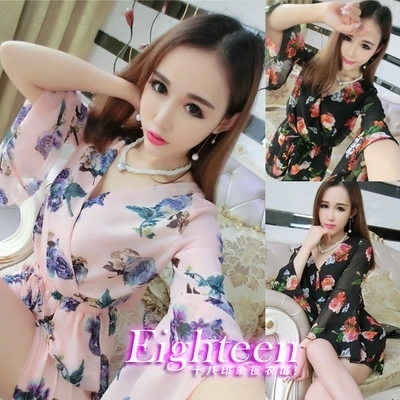 The new summer 2015 aristocratic temperament B03 sexy low-cut deep V bow horn sleeve printed chiffon jumpsuits