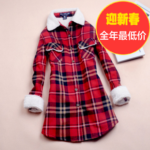 Within the new winter coat long section plus velvet long sleeved plaid shirt female Korean sherpa thickening hair shirt