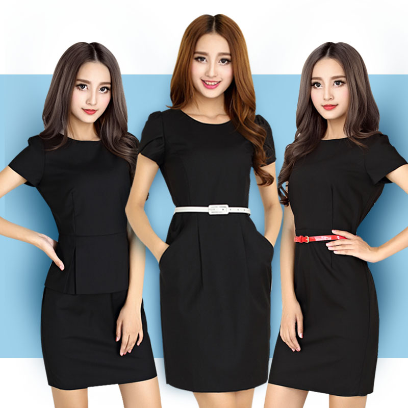 Authentic short sleeve dress summer slim business professional womens formal work suit ol