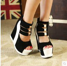 欧美风性感女鞋松糕厚底鱼嘴鞋夜店超高坡跟凉鞋 B312-8  4-9码