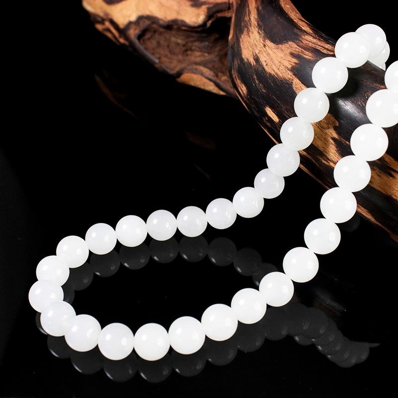 Камень благословение запомнить синьцзян уезд хотан нефрит ожерелье овец смазка белый нефрит 10mm бисер супер белый белый нефрит бисер может DIY