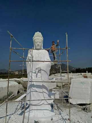 汉白玉观音菩萨石雕像 寺庙人物雕塑 订做大型观音佛像雕刻工艺品