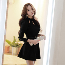 European autumn dresses vogue of new fund of 2015 long sleeve bigger sizes in the spring of cultivate one's morality show thin long autumn wear women's clothing