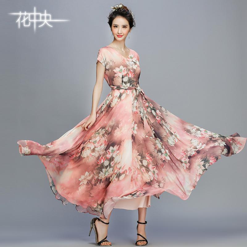 花中央夏季新款长裙大码修身印花连衣裙雪纺大摆裙波西米亚沙滩裙