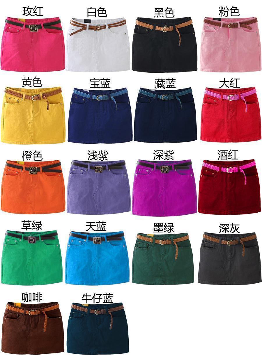 Denim skirt candy pants color denim skirt womens pants elastic slim summer hot shorts