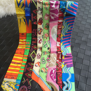 High quality silk scarves twilly silk small scarf small ribbon small ribbon tied to the handle scarves