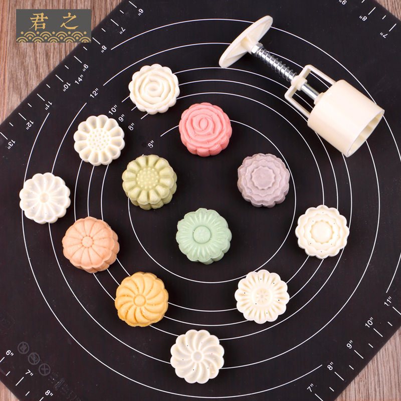君之月饼模具手压式50克75克卡通家用做南瓜饼绿豆糕的磨具套装