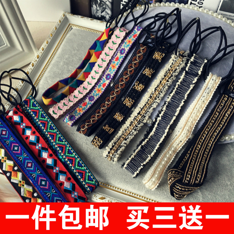韩国复古进口图腾刺绣民族风细发箍