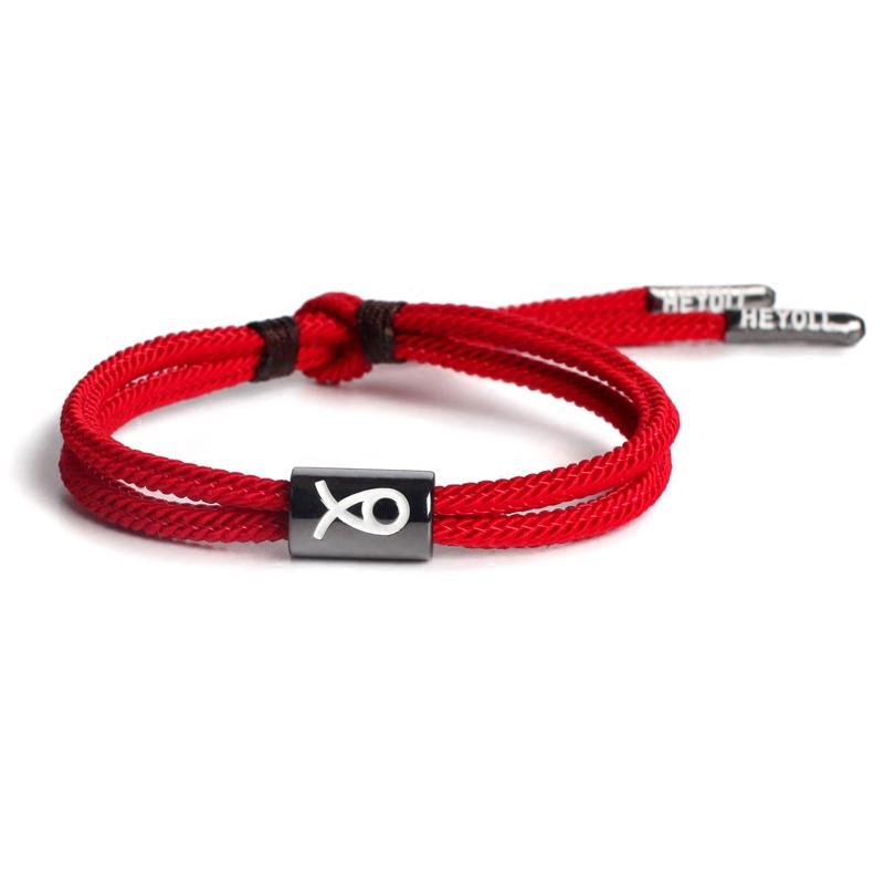 正良居 编织红绳手链女情侣款手绳男潮牌手环手串绳本命年转运珠
