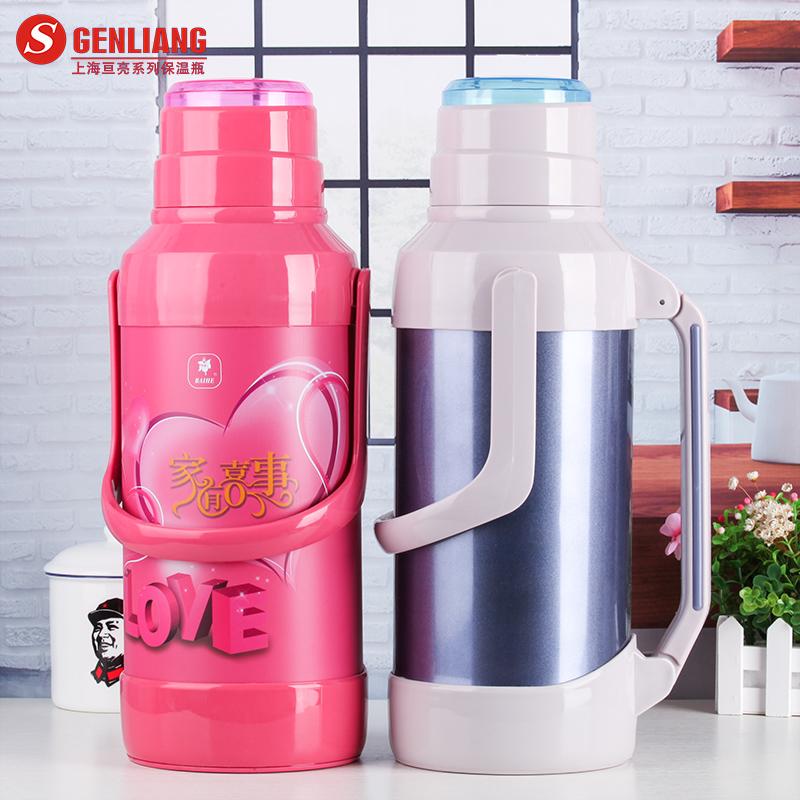 亙亮家用熱水瓶不鏽鋼外殼保溫瓶玻璃內膽保溫壺大容量婚慶暖水瓶