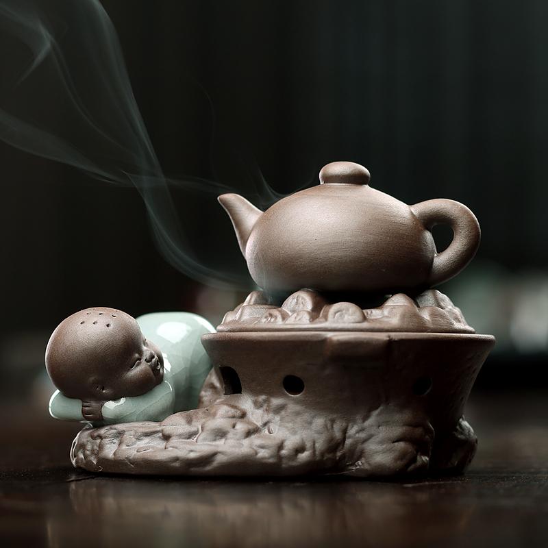 青玉軒 陶瓷香用燒水小僧塔香仿古檀香爐 香道盤香茶寵擺件香薰爐
