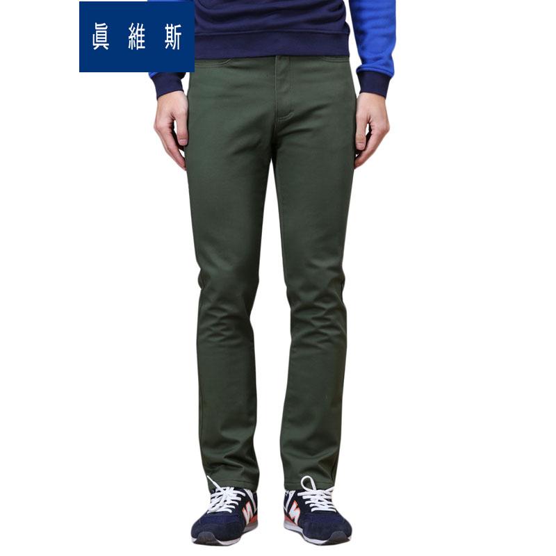 真維斯 褲男修身 男裝 純色純棉加厚保暖長褲潮流