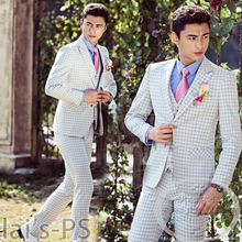 2015 new three-piece suit grid wedding photography studio men's personality men clothing lovers theme clothing