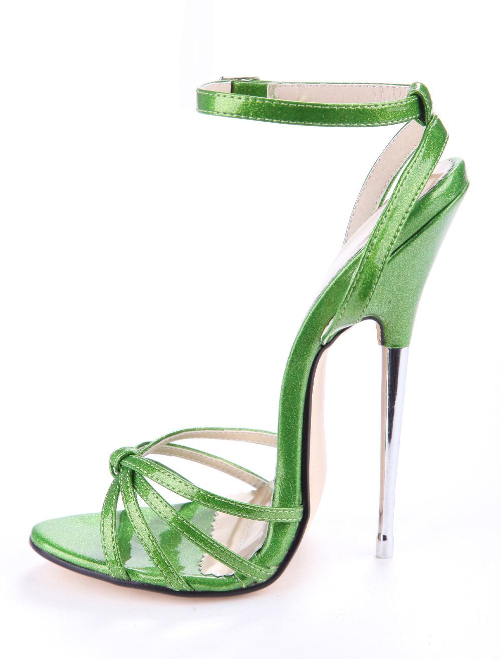2019新款性感16cm绿色金属跟女凉鞋