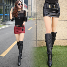 Korea type iman Qiu dong female new pu leather skirt show thin half-length skirt sexy hip skirt step short skirt