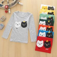 童装厂家直销批发2017年春秋季黑白双猫长袖 圆领上衣单层T恤