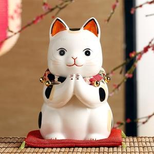 日本药师窑祈愿招财猫大号摆件 开业生日结婚礼物 办公桌可爱摆件