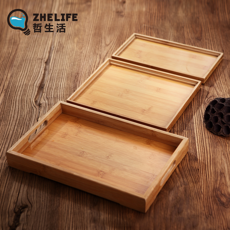 茶盤竹托盤長方形麵包盤歐式實木質托盤茶杯托盤酒店端菜餐盤家用