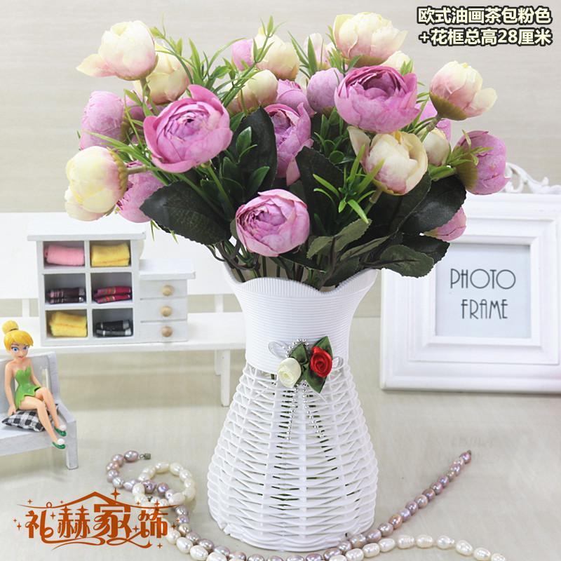 包郵歐式假花仿真花套裝裝飾花餐桌客廳茶幾擺件放插花絹花小盆栽