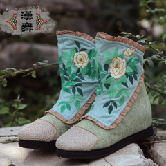 Chinese ethnic dances and pasted cloth embroidered boots new 2015 winter boots stylish short tube manual cloth boots Camellia