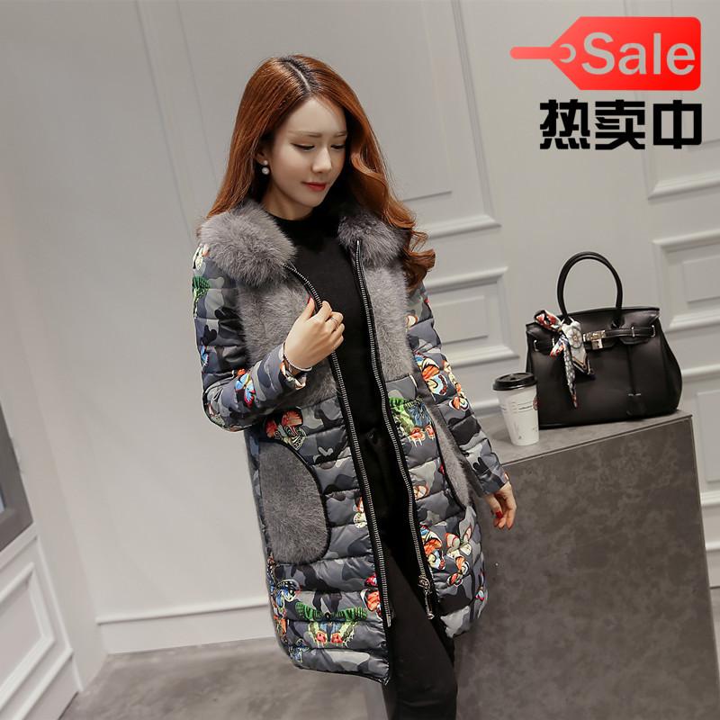 -Сезон Распродажа корейской версии Фокс меха воротник норкой бархат тонкий длинный шить мягкий вниз пальто женщин костюм куртки