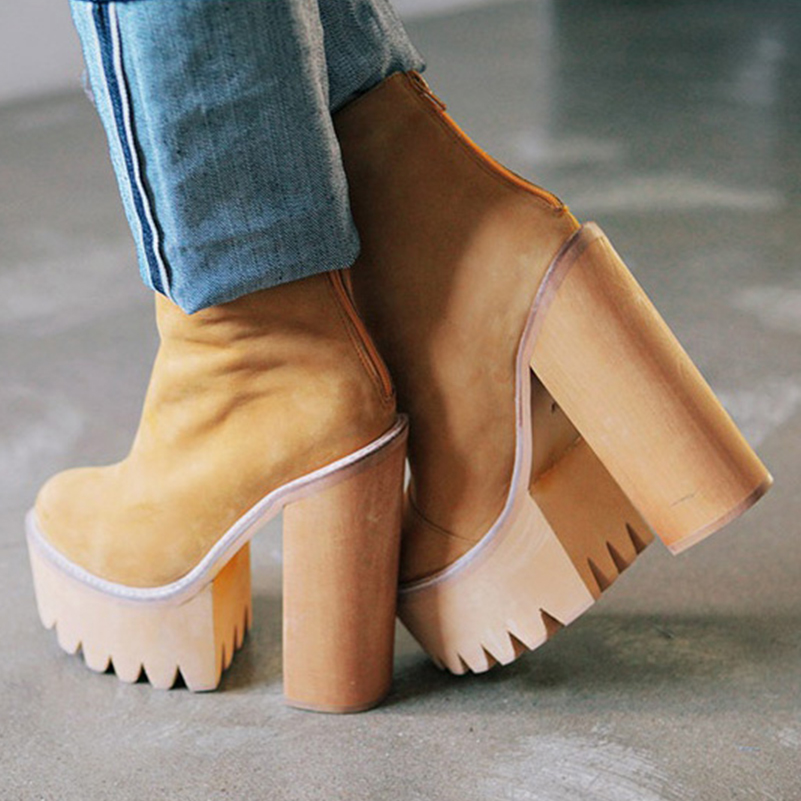 Европе осенью 2015 новой девушки короткие грубые ботинки на толстой подошве платформы голая кожа сапоги сапоги с молнией вспышки