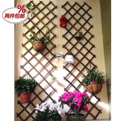 2件包邮伸缩木栅栏庭院围栏墙面装饰花架木篱笆碳化防腐木爬藤架