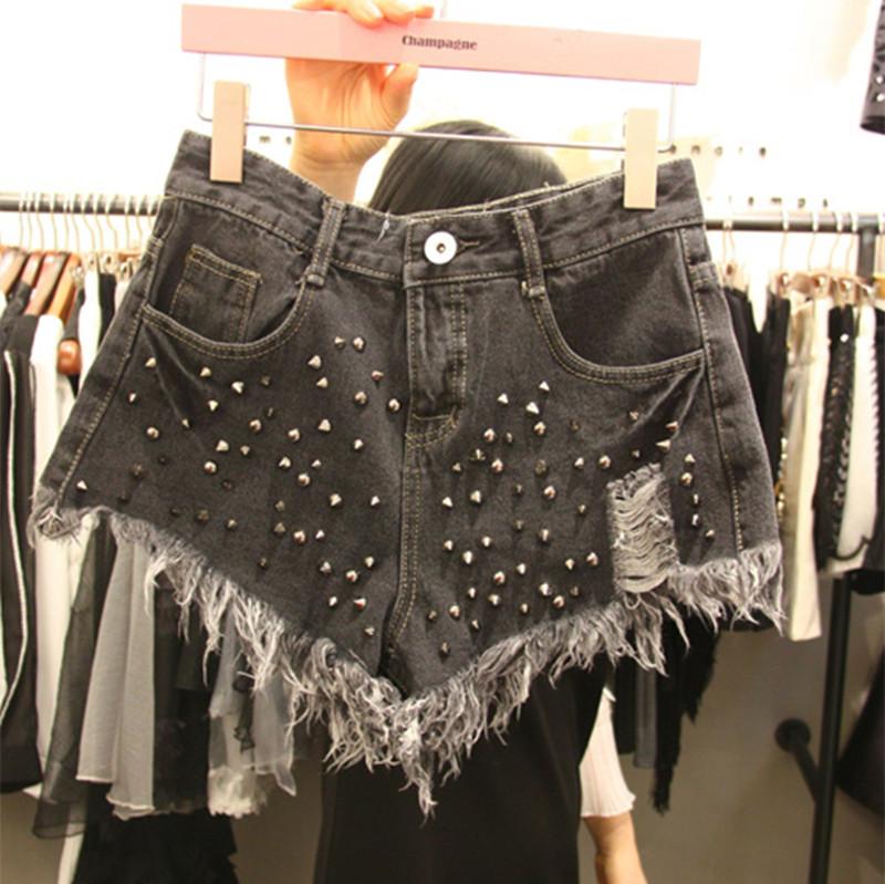 Отверстие в весной и летом 2016 новый тонкий флэш-ду старой заклепки высокой талией джинсовые шорты шорты женщин широкие
