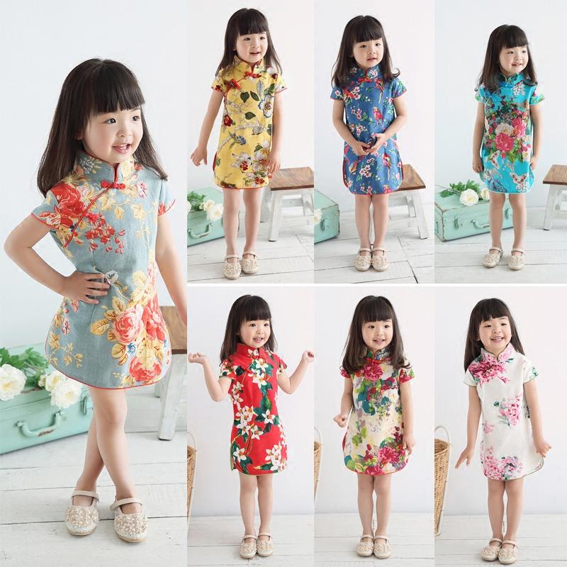 女童旗袍夏季公主裙小孩中国唐装棉麻民族风幼儿小童儿童旗袍女夏