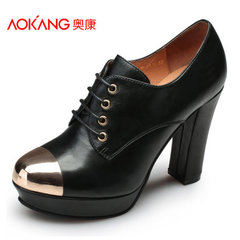 Aokang shoes new European fashion high heel platform lace leather metal stitching anti-fatigue shoe
