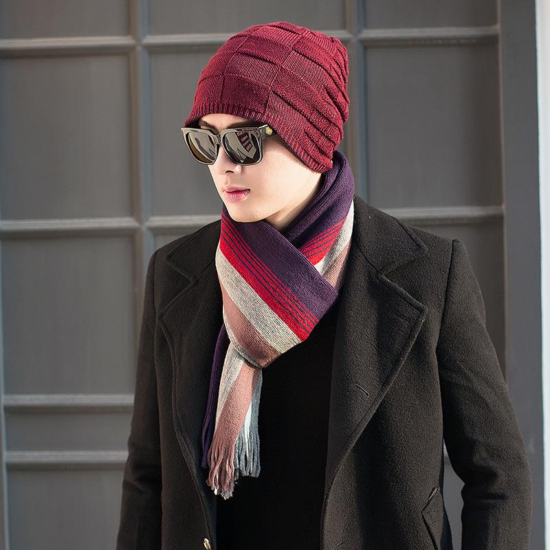 Шерстяную шапку зи шарф костюм двойка мужской зима сезон мода прилив корейский молодежь утолщённый сохраняющий тепло вязание пожилой