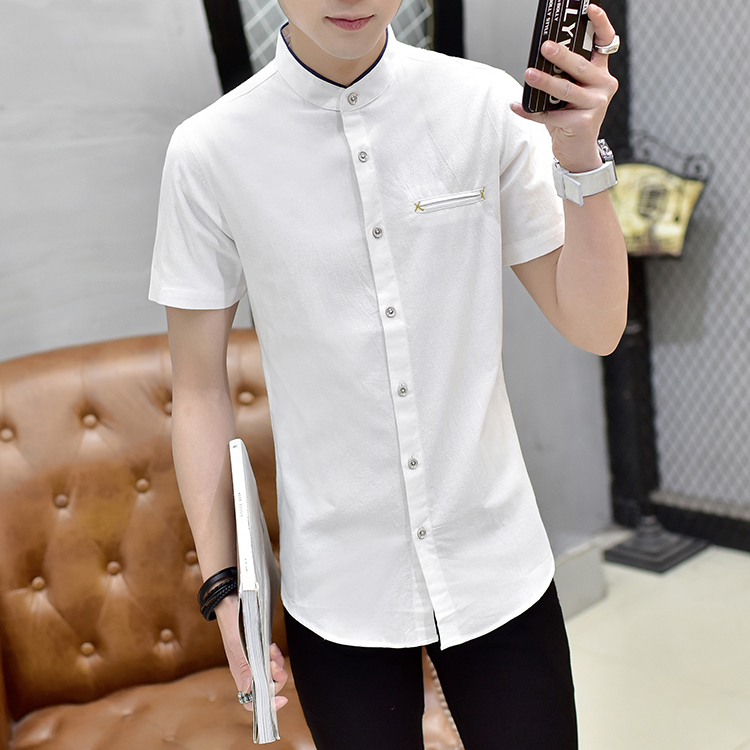 C2012 新款男士夏季大码休闲纯色小立领短袖衬衫P40 白色 模特图
