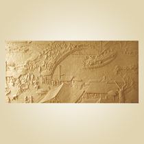 Artificial sandstone relief mural plate Sand Rock TV background wall sandstone Qingming River map