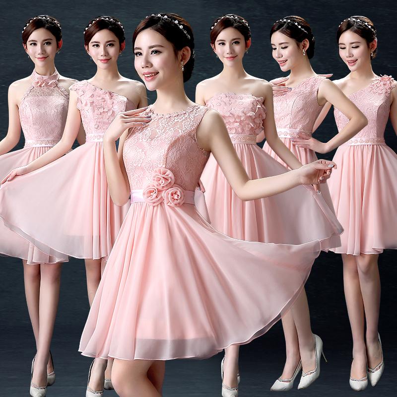 伴娘服短款2017新款秋季粉色伴娘团姐妹裙小礼服晚礼服修身女显瘦