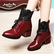 Shield Fox chunky heels shoes woman with pointy lace shoe booties women's boots in England the 2015 winter new tide