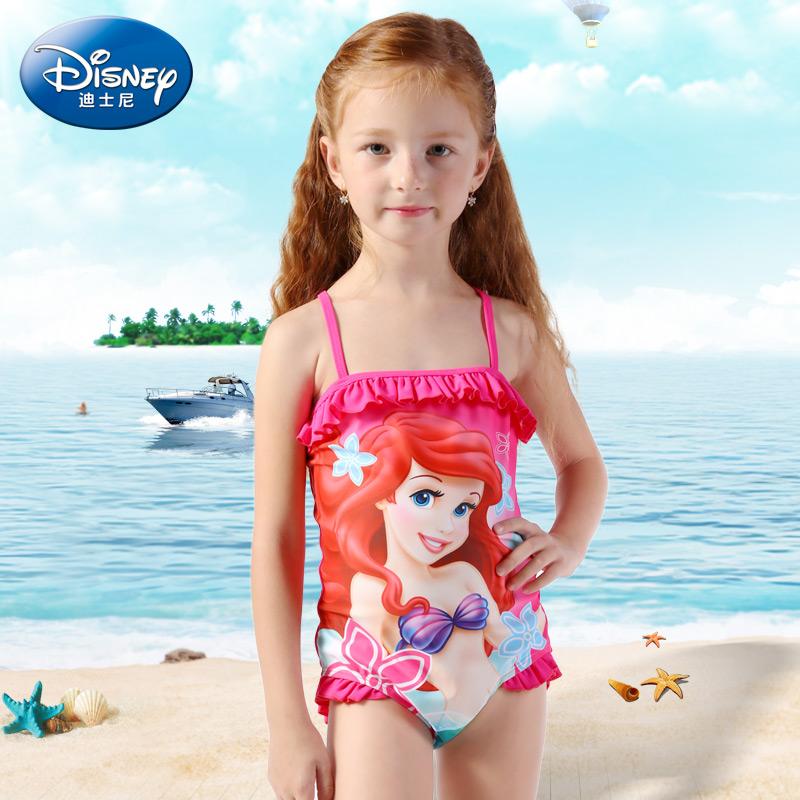 迪士尼女童泳衣儿童泳衣女孩公主连体裙式小童宝宝泡温泉游泳衣